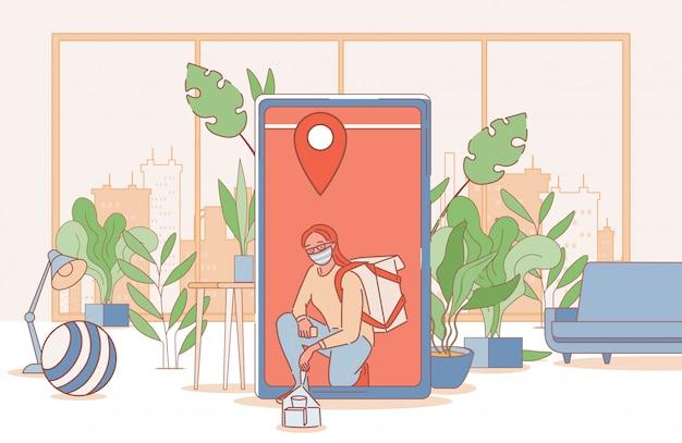 Ilustración de contorno de dibujos animados de entrega en línea sin contacto. chica entrega comida a los apartamentos.