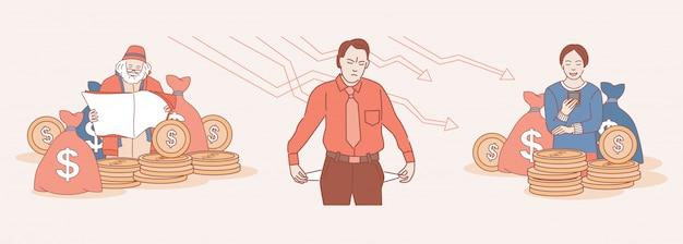 Ilustración de contorno de dibujos animados de éxito económico y quiebra. feliz mujer y anciano rodeado de monedas de oro y triste hombre enojado con los bolsillos hacia afuera, sin dinero.