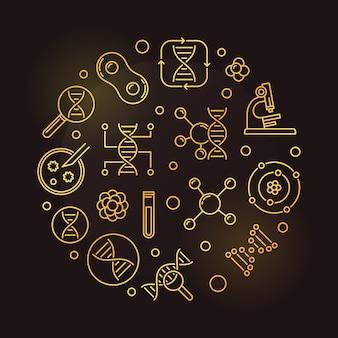 Ilustración de contorno dorado circular de vector de bioquímica