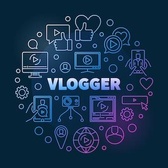 Ilustración de contorno en espiral redondo vlogger
