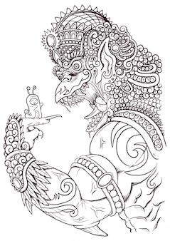 Ilustración de contorno garuda enojado con adornos tradicionales