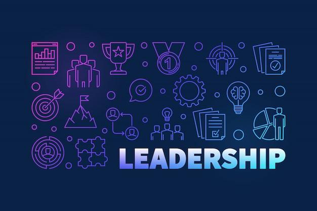 Ilustración de contorno horizontal coloreado de liderazgo