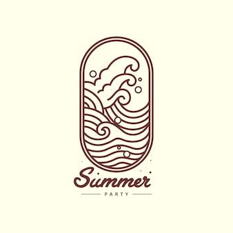 Ilustración de contorno de onda para logo de verano
