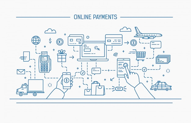Ilustración de contorno plano de arte lineal. pagos en línea, transferencia de dinero, transacciones financieras.