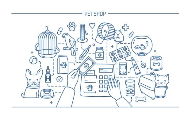 Ilustración de contorno de tienda de mascotas con animales y venta de medicamentos.