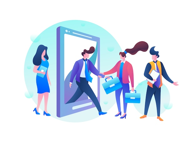 Ilustración de contratación de trabajadores