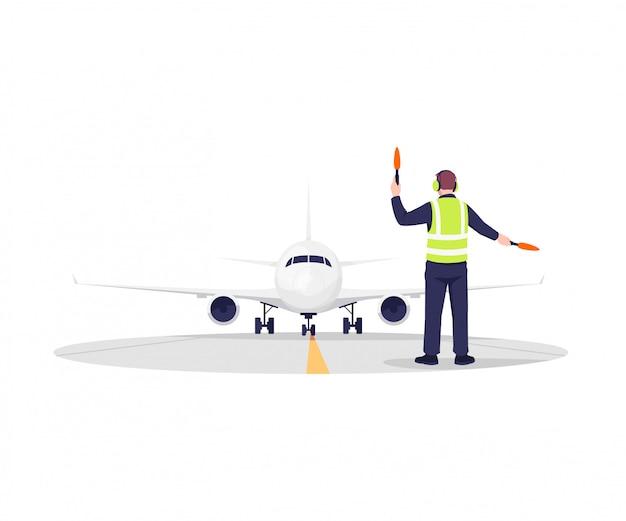 Ilustración del controlador de pista de avión