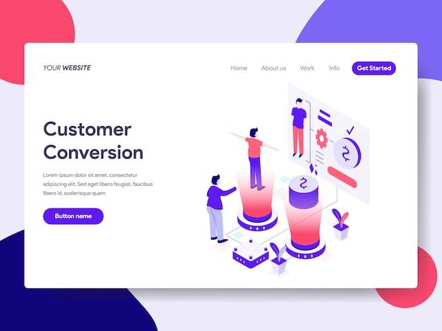 Ilustración de conversión de clientes para páginas web