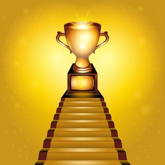Ilustración de copa trofeo de oro realista