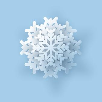 Ilustración de copo de nieve de un papel realista.