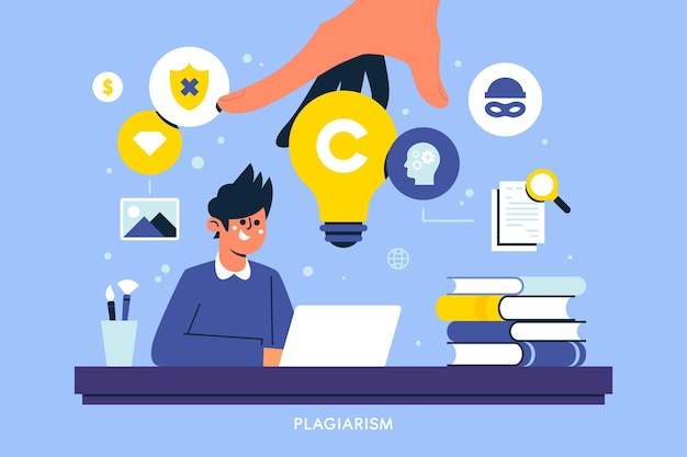Ilustración de copyright de plagio