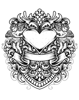 Ilustración de corazón de amor con dos angelitos y adornos de grabado