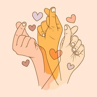 Ilustración de corazón de dedo