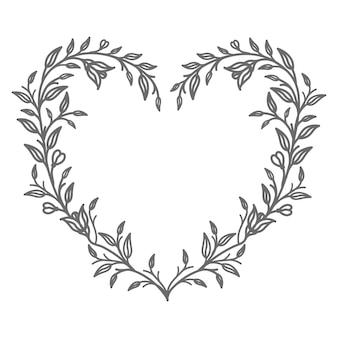 Ilustración de corazón floral para abstracto y decoración.