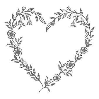 Ilustración de corazón floral decorativo para boda y día de san valentín