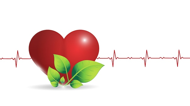 Ilustración de un corazón humano en el fondo de un gráfico de frecuencia cardíaca brillante.
