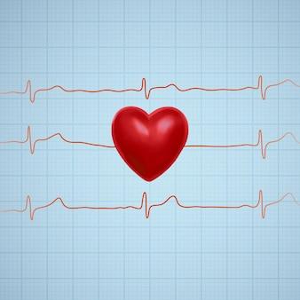 Ilustración de corazón con línea gráfica de ecg.