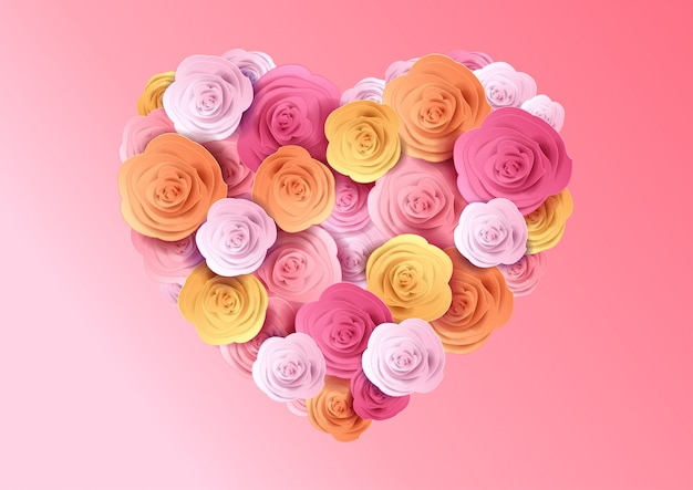 Ilustración del corazón de rosas