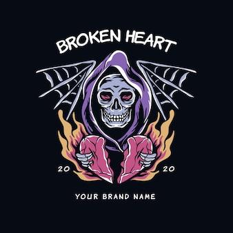 Ilustración de corazón roto de cráneo