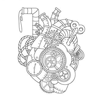 Ilustración de corazón steampunk