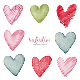 Ilustración de corazones multicolores de colección.