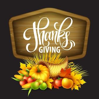 Ilustración de una cornucopia de acción de gracias llena de frutas y verduras de cosecha. diseño de saludo de otoño. celebración de la cosecha de otoño. calabaza y hojas. ilustración de vector eps10