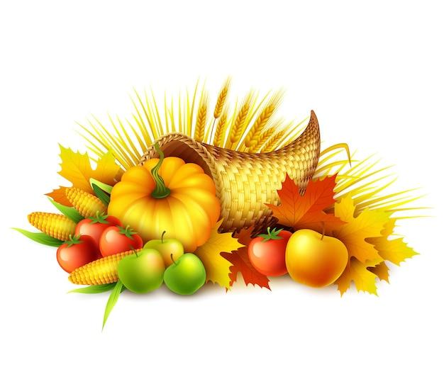 Ilustración de una cornucopia de acción de gracias llena de frutas y verduras de cosecha.