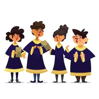 Ilustración de coro de gospel de dibujos animados