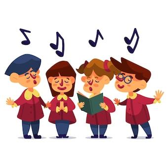 Ilustración de coro de gospel infantil