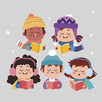 Ilustración de coro de niños de dibujos animados