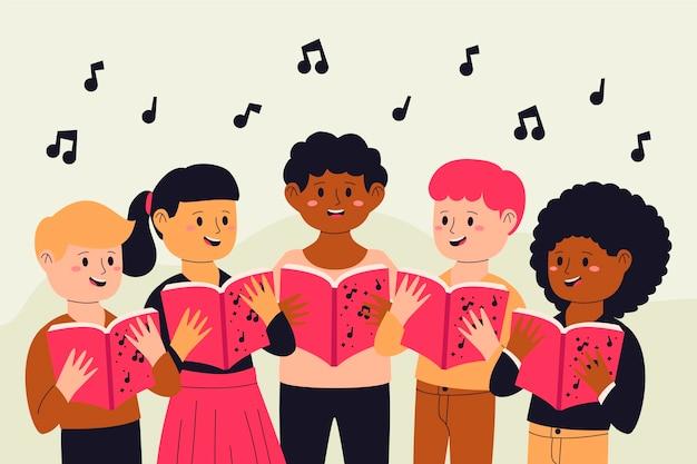Ilustración de coro de niños de diseño plano