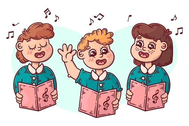 Ilustración de coro de niños