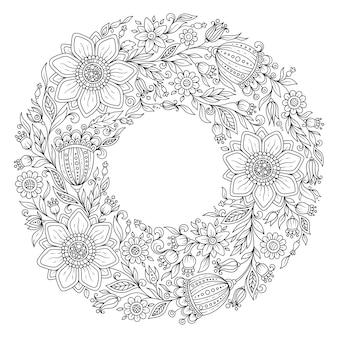 Ilustración de corona floral