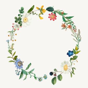 Ilustración de corona de marco botánico vintage