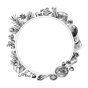 Ilustración de corona de marco. set de vino caliente y especias.