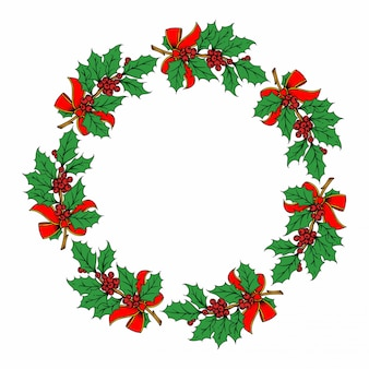 Ilustración de corona de navidad en blanco