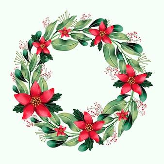 Ilustración de corona de navidad con flores de acuarela