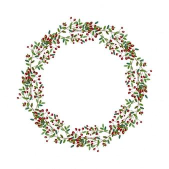 Ilustración de corona de navidad redonda