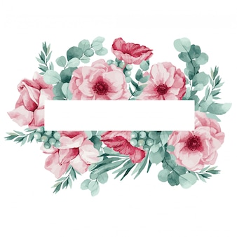 Ilustración de una corona suave para una invitación de boda de eucalipto, anémonas rosas, hojas de palma y amapolas.
