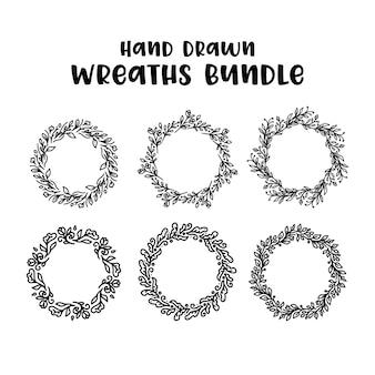 Ilustración de coronas florales dibujados a mano