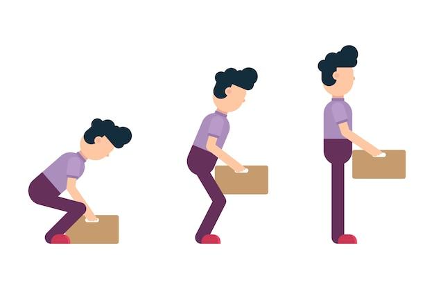 Ilustración correcta de levantamiento de pesas sobre fondo blanco