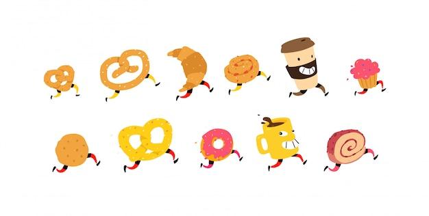 Ilustración de correr bocadillos y café