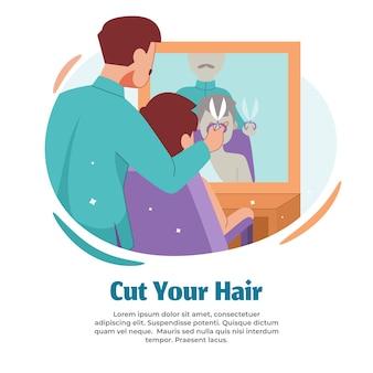 Ilustración de cortar el cabello al terminar el hayy