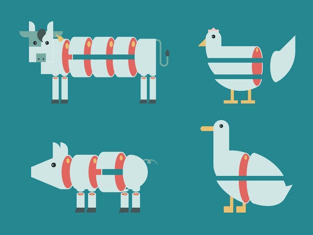 Ilustración de corte de animal