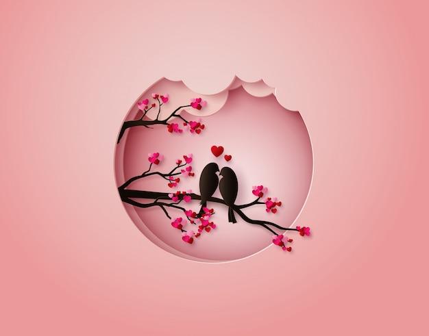 Ilustración de corte de papel de pájaro en el amor