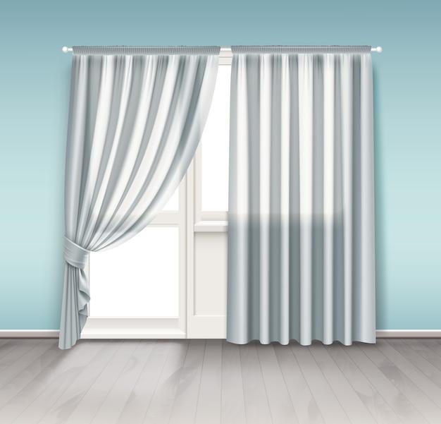 Ilustración de cortinas blancas colgadas en la ventana con puerta de balcón aislado sobre fondo blanco.