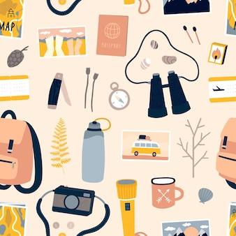 Ilustración de cosas de viaje y hikibg.