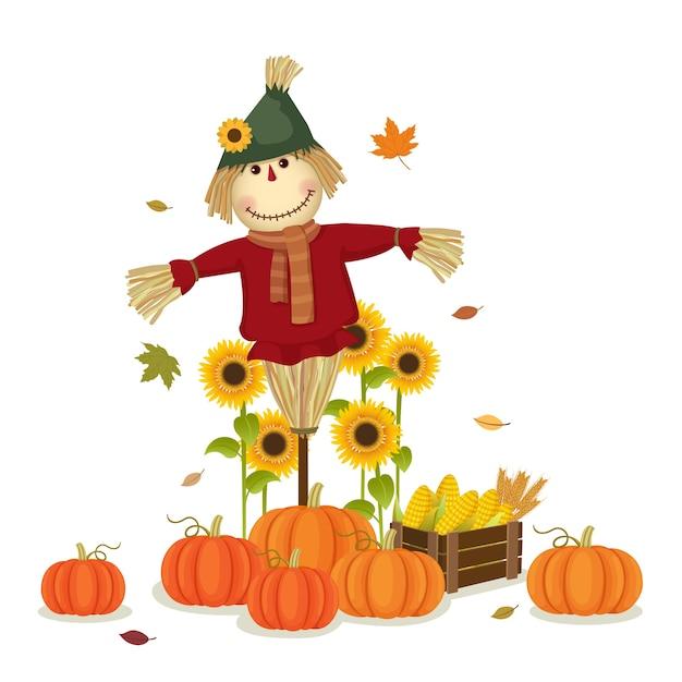 Ilustración de la cosecha de otoño con lindo espantapájaros y calabazas