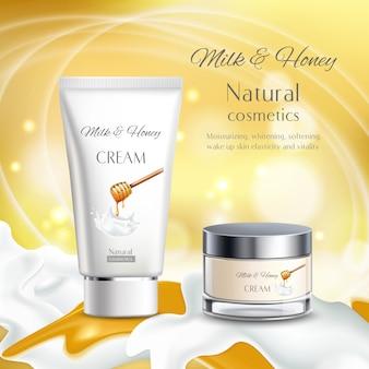 Ilustración de cosméticos naturales de leche y miel