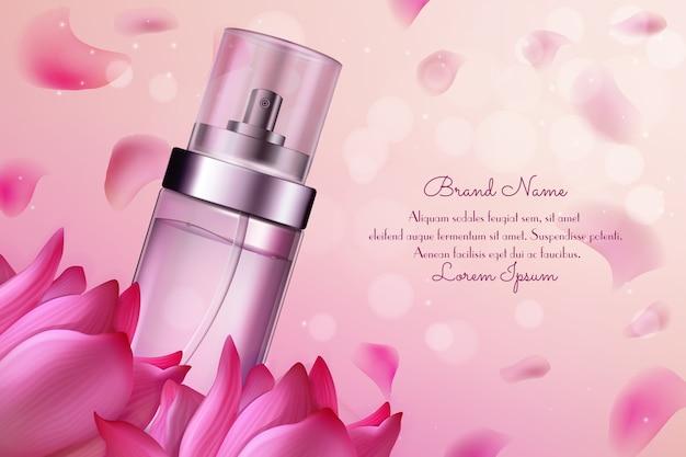 Ilustración de cosméticos de perfume de flores.